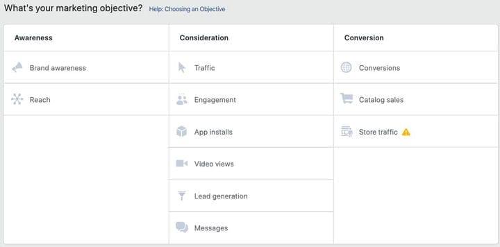 Маркетинговая цель кампании Facebook Repixel