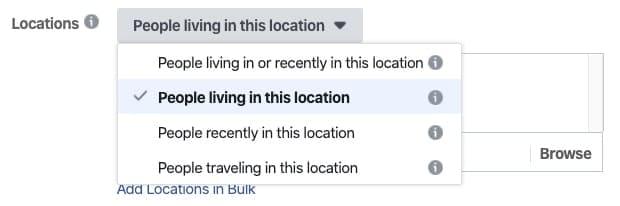 Настройка местоположения рекламной аудитории Facebook