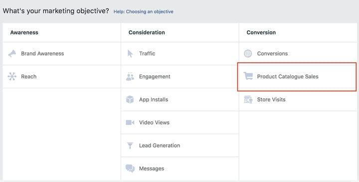 Каталог товаров для рекламы в Facebook