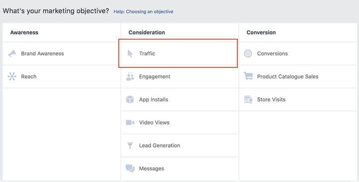 Маркетинговая цель рекламной кампании Facebook