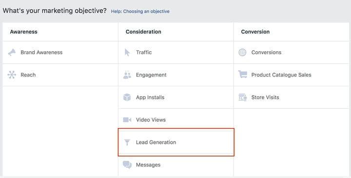 Маркетинговая цель привлечения потенциальных клиентов для рекламы в Facebook
