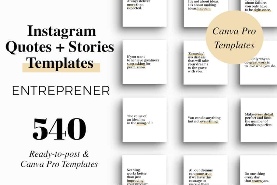 Шаблоны Instagram цитат предпринимателя