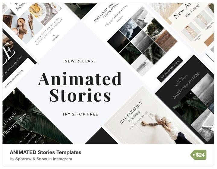Чистый и современный шаблон Instagram Stories