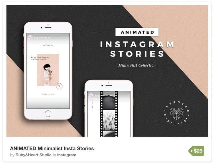 Минималистичный шаблон Instagram Stories