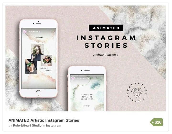 Сложный шаблон акварельных историй в Instagram