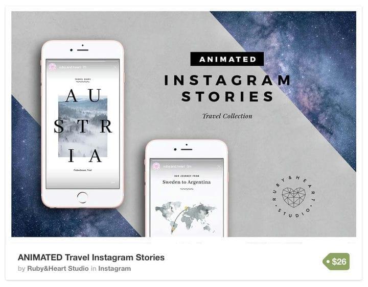 Шаблоны туристических историй в Instagram