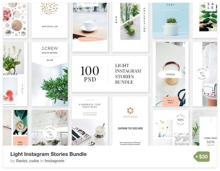 Шаблон светлых и ярких историй в Instagram