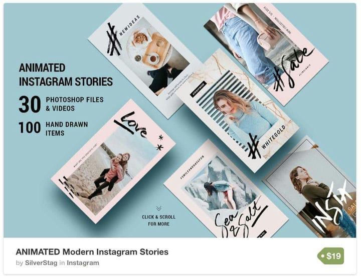 Ручной обращается шаблон Instagram рассказов