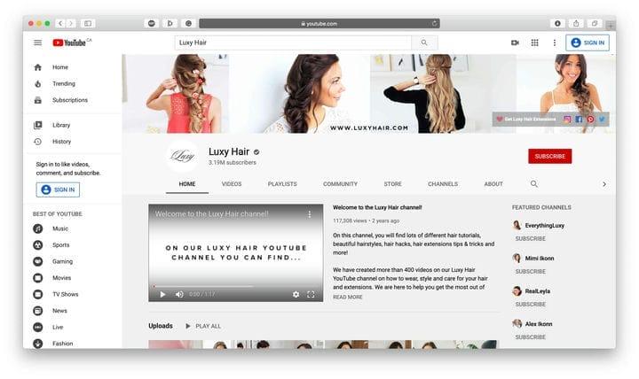 Канал Luxy Hair на YouTube