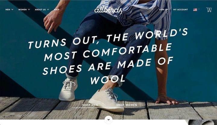 Дизайн сайтов электронной коммерции AllBirds