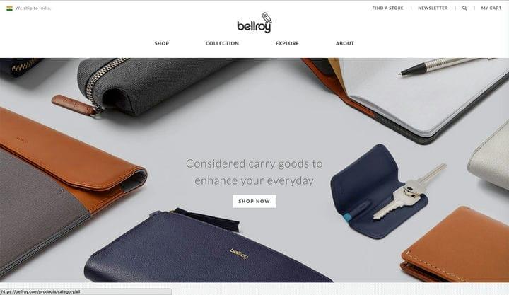 Дизайн веб-сайта электронной коммерции Bellroy