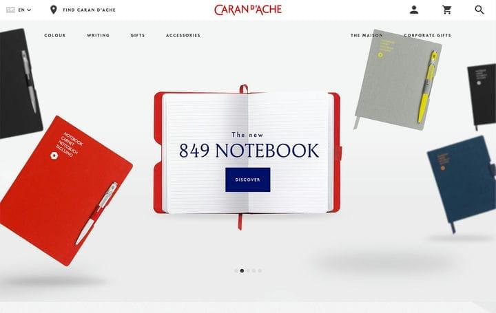 Дизайн веб-сайта электронной коммерции Caran D'Ache