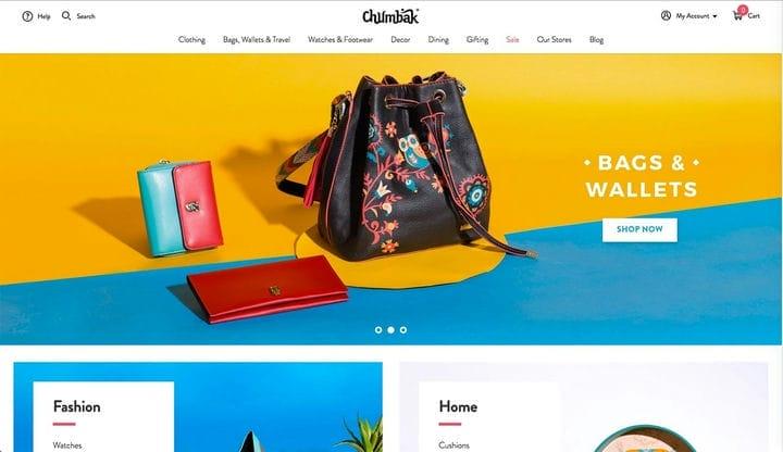 Дизайн веб-сайта электронной коммерции Chumbak