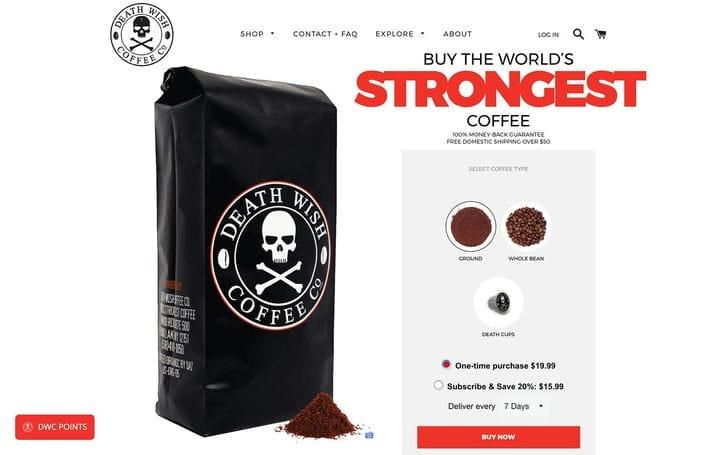 Дизайн веб-сайта электронной коммерции Deathwish Coffee