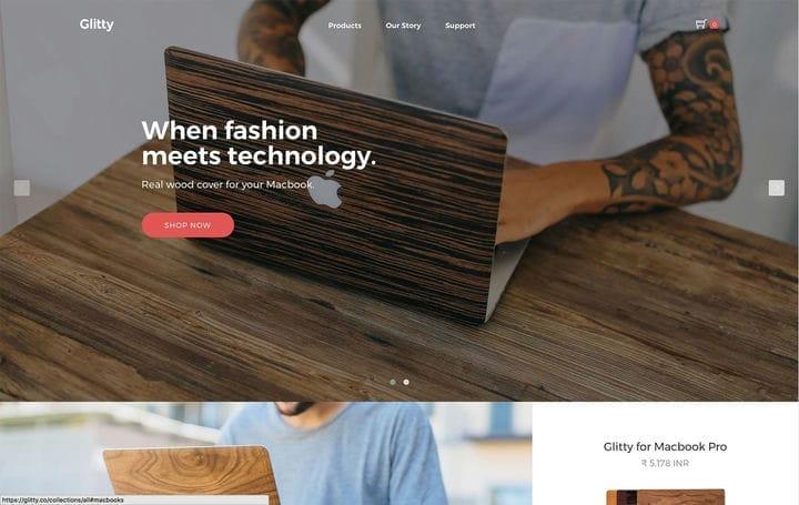 Блестящий дизайн веб-сайта электронной коммерции