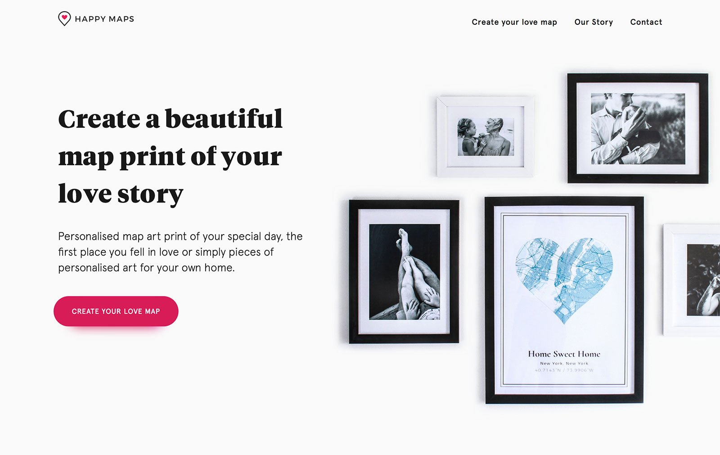 Дизайн веб-сайта электронной коммерции Happy Maps