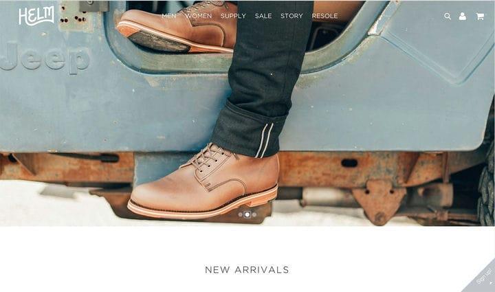 Helm Boots Дизайн веб-сайта электронной коммерции