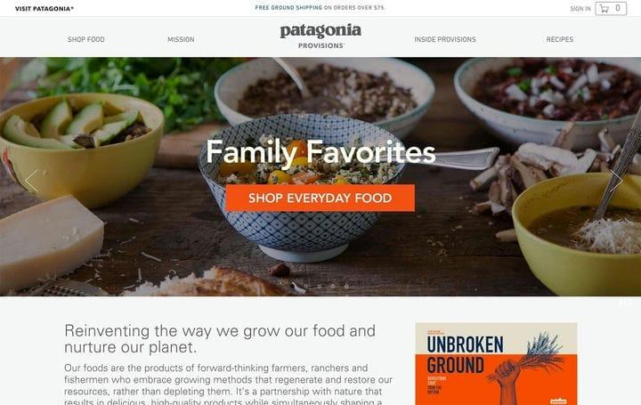 Patagonia Provisions Дизайн веб-сайта электронной коммерции