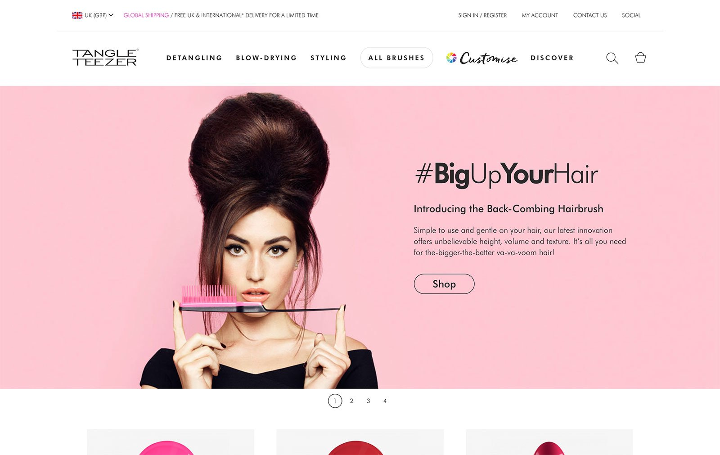 Дизайн веб-сайта электронной коммерции Tangle Teezer