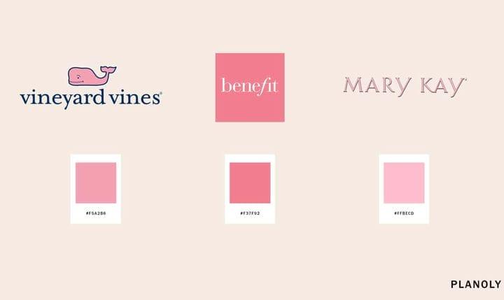 Примеры цветов розового логотипа бренда