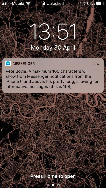 Пример экрана блокировки FB Messenger