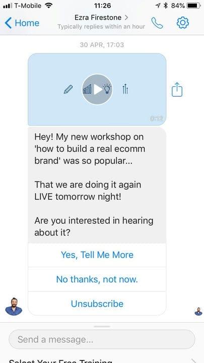 Пример сообщения FB Messenger