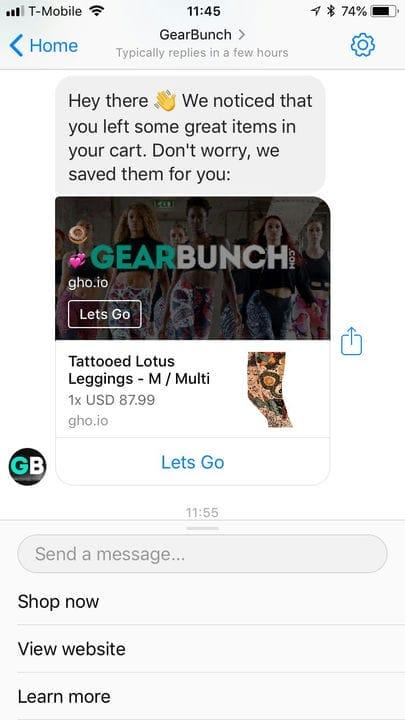 Кампания по брошенной корзине в Facebook Messenger