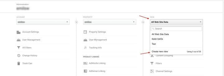 Создайте новое представление в Google Analytics