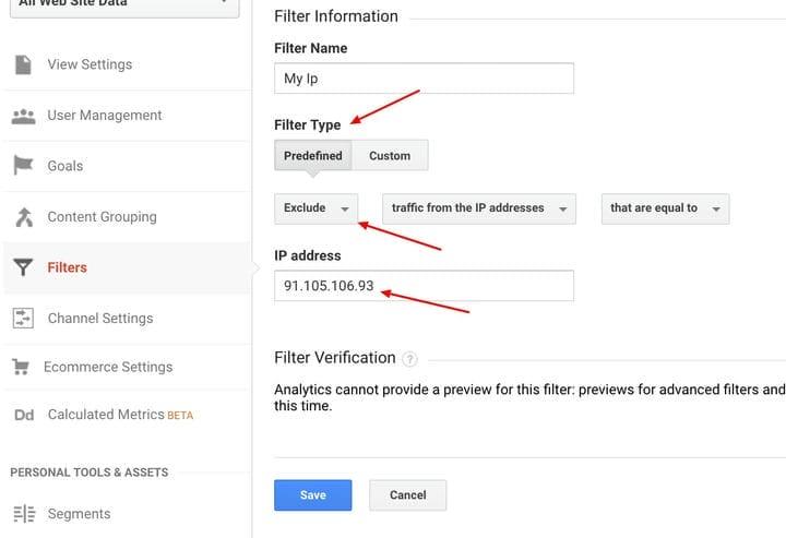 Исключить IP-адреса в Google Analytics
