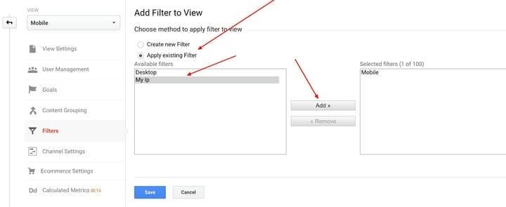 Google Analytics Добавить фильтр для просмотра