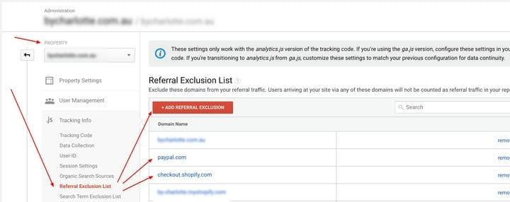 Список исключения рефералов Google Analytics