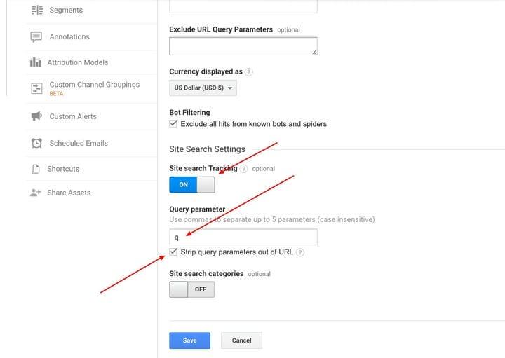 Измерение данных поиска по сайту в Google Analytics