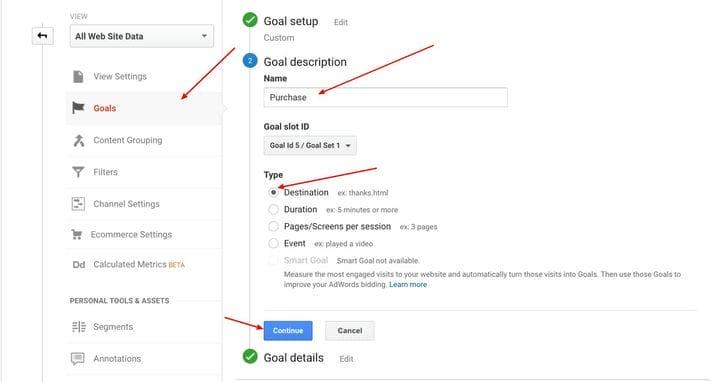 Настройка целей и последовательностей в Google Analytics
