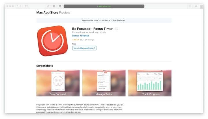 Приложение BeFocused Time Management