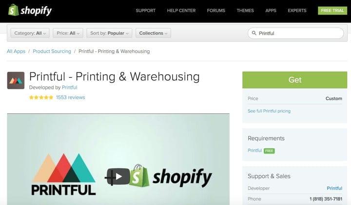 Приложение Printful в магазине приложений Shopify