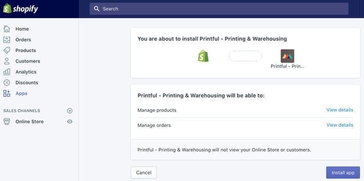 Как установить приложение Printful в Shopify App Store