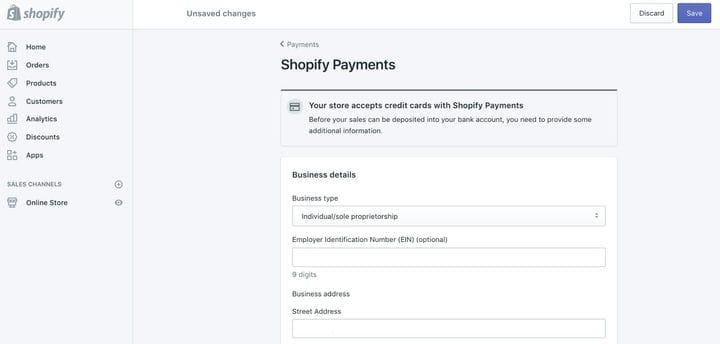 Как настроить платежи Shopify