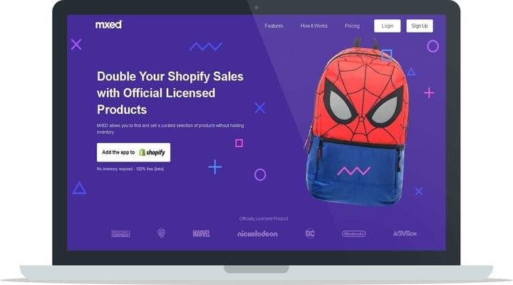 Главная страница приложения MXED Shopify