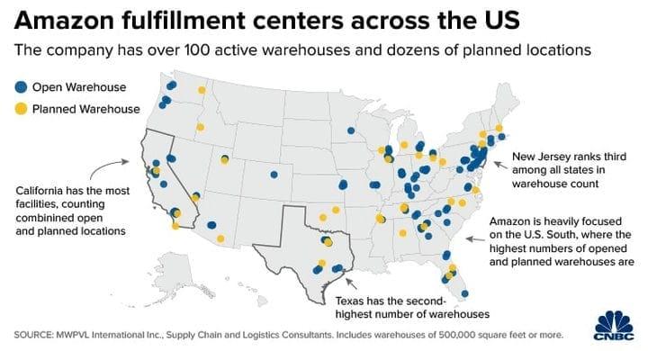 Расположение складов Amazon Fulfillment