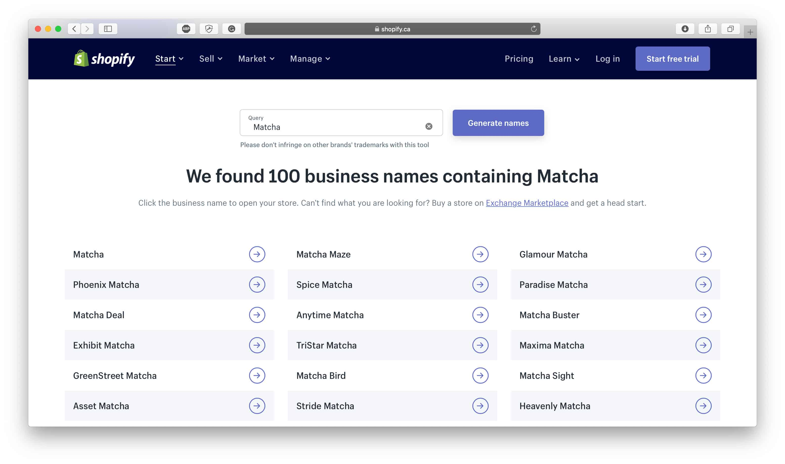 Matcha Tea Dropshipping Business Names