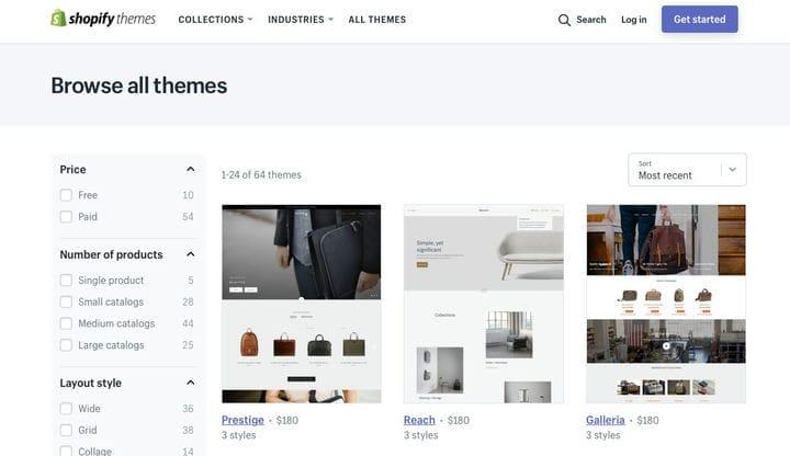 Просмотреть все темы Shopify