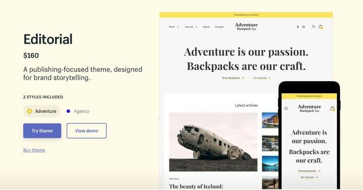 Shopify Тема Редакционное приключение