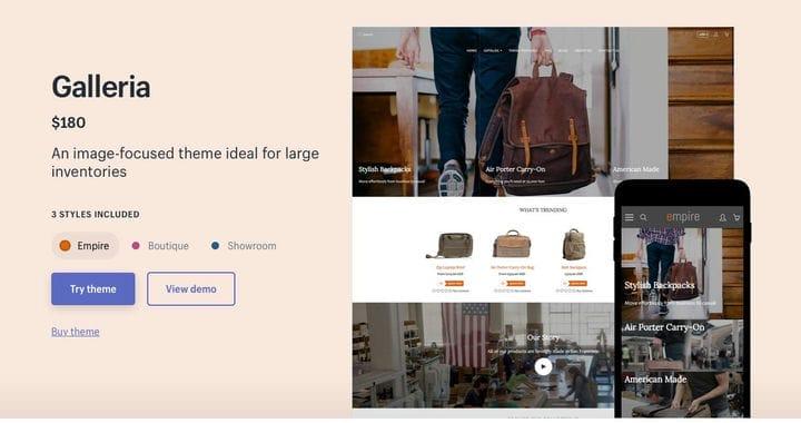 Shopify Тематическая галерея