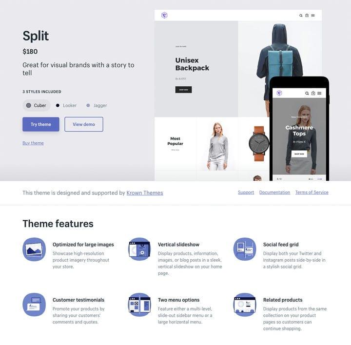 Разделить тему Shopify