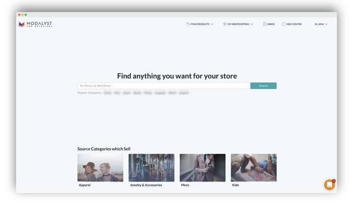 Панель поиска продукта Modalyst