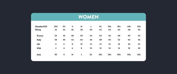 Азиатский размер для женской таблицы размеров США