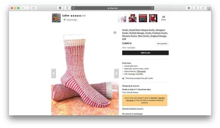 Интернет-магазин носков Etsy